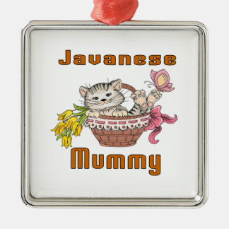 Javanese Cat Mom Silver-Colored Square Decoration