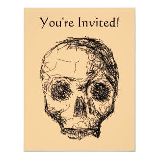 Jawless Black Skull. 11 Cm X 14 Cm Invitation Card