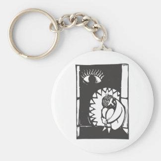 Jaws of Depression Basic Round Button Key Ring