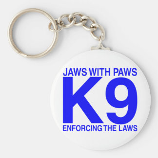Jaws with Paws enforcing the Laws Basic Round Button Key Ring