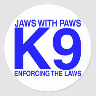 Jaws with Paws enforcing the Laws Round Sticker