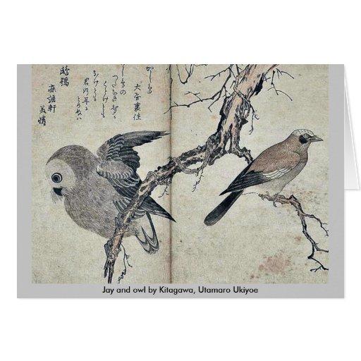 Jay and owl by Kitagawa, Utamaro Ukiyoe Cards