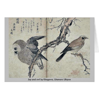 Jay and owl by Kitagawa, Utamaro Ukiyoe Greeting Card