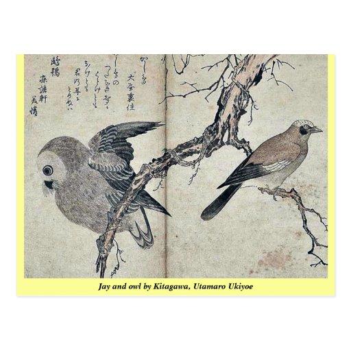 Jay and owl by Kitagawa, Utamaro Ukiyoe Postcard