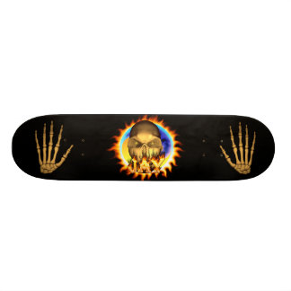 Jay skull real fire and flames skateboard design