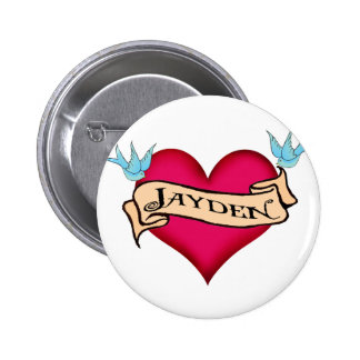 Jayden - Custom Heart Tattoo T-shirts & Gifts 6 Cm Round Badge