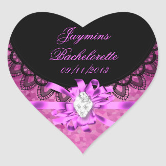 Jaymins Bachelorette Pink Black Lace Heart Sticker
