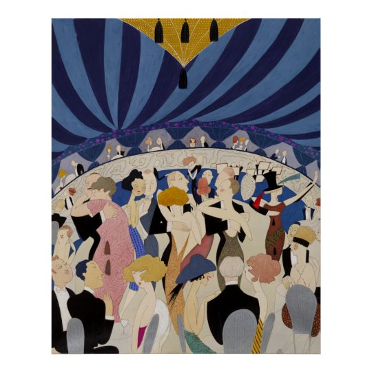 Jazz Age Art Deco Dancing couples dance hall
