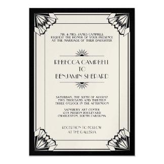 Jazz age black geometric art deco wedding custom invites