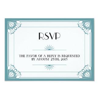 Jazz age blue Art Deco RSVP wedding response Custom Invitations