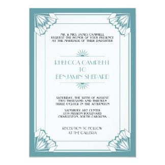 Jazz age blue geometric art deco wedding card