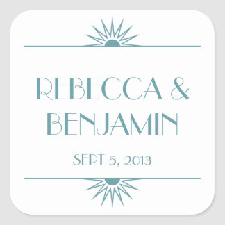 Jazz age blue geometric art deco wedding square sticker