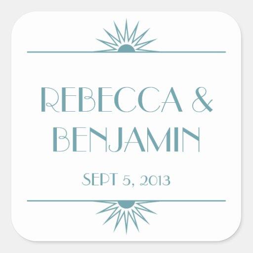 Jazz age blue geometric art deco wedding square sticker