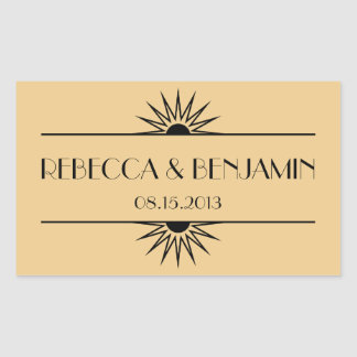 Jazz age dull gold geometric art deco wedding rectangular sticker