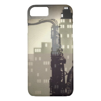 Jazz age inspired saxophone and art deco building iPhone 7 case
