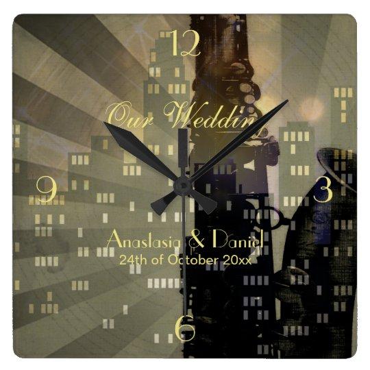 Jazz Age Saxophone City Skyline Wedding Gift Square