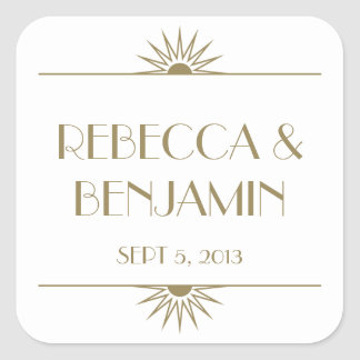 Jazz age taupe geometric art deco wedding square sticker