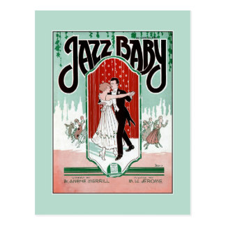 Jazz Baby 1920s jazz age vintage sheet music cover Postcard