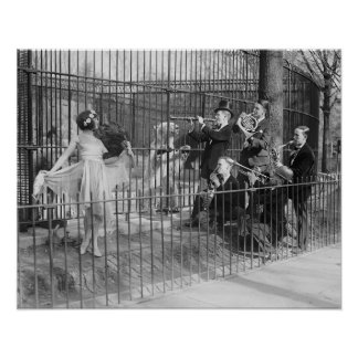 Jazz Band at the Zoo, 1925. Vintage Photo Poster