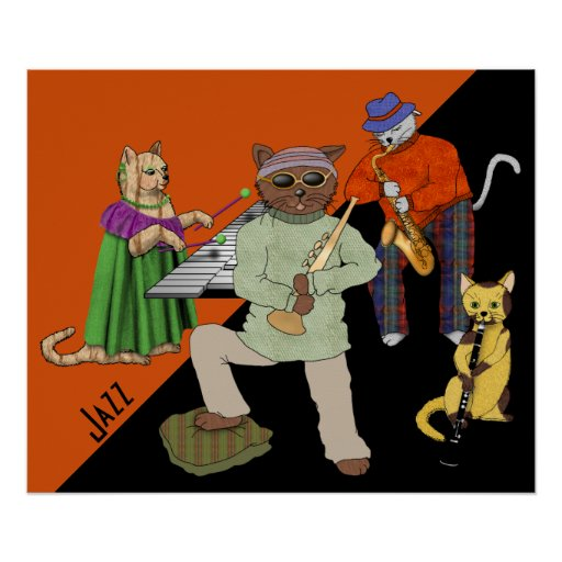 Jazz Band with Cat Musicians Poster