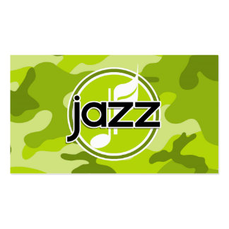Jazz bright green camo camouflage business card template