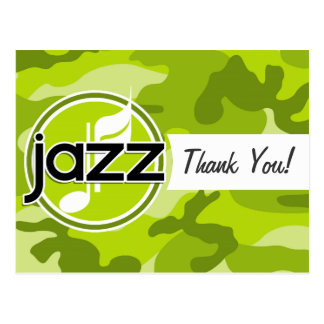 Jazz; bright green camo, camouflage postcards