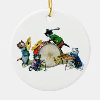 Jazz Cats Round Ceramic Decoration
