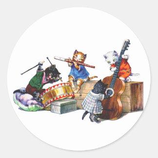 Jazz Cats Round Stickers