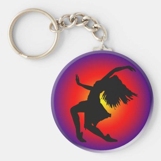 Jazz dancer silhouette on multi background basic round button key ring