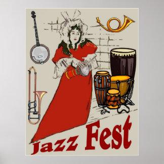 Jazz Fest Drum Lady Poster