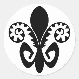 Jazz Fleur de lis (black) Round Sticker