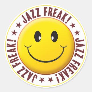 Jazz Freak Smiley Round Stickers