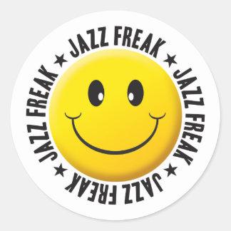 Jazz Freak Smiley Round Sticker