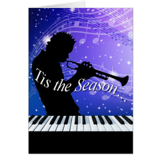 Jazz Horn Player Tis the Season   cobalt blue Greeting Card