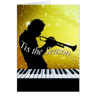 Jazz Horn Player Tis the Season   yellow Greeting Card