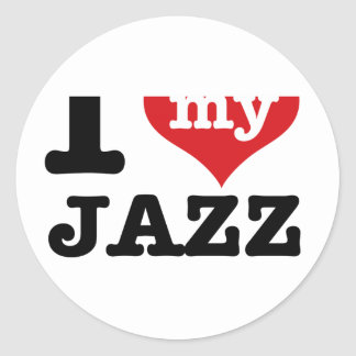 jazz husband round stickers