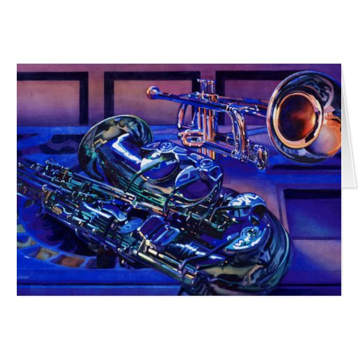 """""""Jazz In Blues"""" Musical Instruments Watercolor Card"""