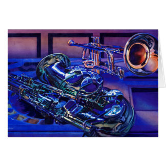 """""""Jazz In Blues"""" Musical Instruments Watercolor Greeting Card"""
