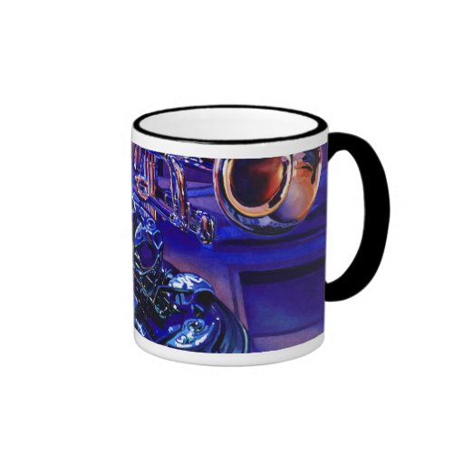 """""""Jazz In Blues"""" Musical Instruments Watercolor Coffee Mugs"""