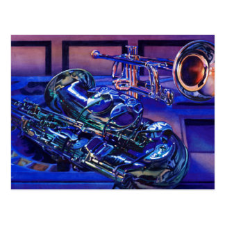 """""""Jazz In Blues"""" Musical Instruments Watercolor Postcard"""