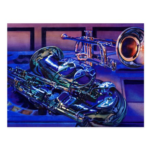 """""""Jazz In Blues"""" Musical Instruments Watercolor Postcards"""