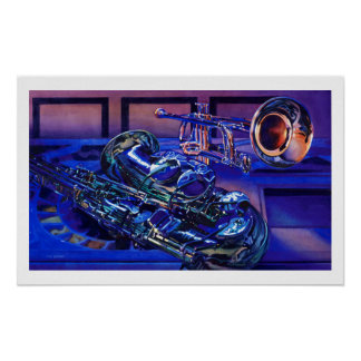 """""""Jazz In Blues"""" Musical Instruments Watercolor Poster"""