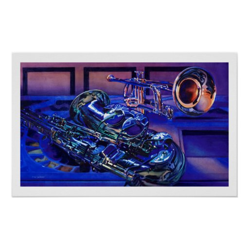 """""""Jazz In Blues"""" Musical Instruments Watercolor Print"""