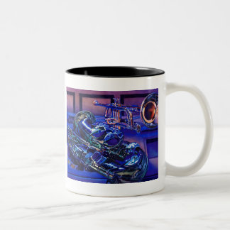 """""""Jazz In Blues"""" Musical Instruments Watercolor Two-Tone Coffee Mug"""
