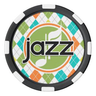 Jazz Music; Colorful Argyle Pattern Poker Chips