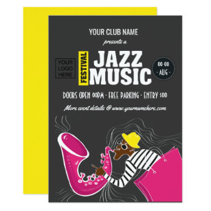 Party jazz invitations announcements zazzle jazz music festival invitation stopboris Image collections