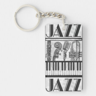 Jazz Music Instruments Black and White Keychain