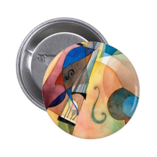 "Jazz Music Painting ""Bassline"" 6 Cm Round Badge"