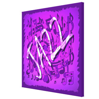 Jazz Music Purple Violet Musical Notes Gallery Wrapped Canvas