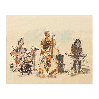 Jazz music trio wood print